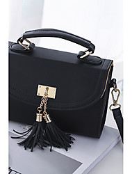 Women Bags All Seasons PU Polyester Shoulder Bag Zipper Tassel for Event/Party Casual Outdoor Black Fuchsia Blushing Pink Light Purple