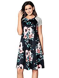 Feminino Solto Vestido,Feriado Para Noite Fofo Floral Decote Redondo Altura dos Joelhos Manga Curta Poliéster Elastano Verão Cintura Alta