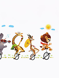 cheap -Cartoon Giraffe Bull Lion Cycling Wall Stickers Animals Playing Guitar Trip Cloud Wall Decals Home Decor For Baby Kids Room Living Room