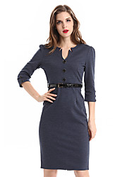Womens Vintage Brief Split Bottom Belted Elegant Casual Work 3/4 Sleeve Deep V-Neck Bodycon Knee Women Office Pencil Dress