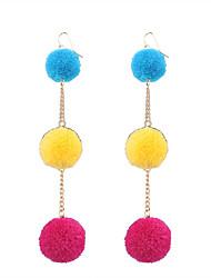 cheap -Fashion Women Trendy Fur Ball Drop Earrings
