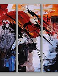 economico -Dipinta a mano Astratto Verticale, Artistico Tela Hang-Dipinto ad olio Decorazioni per la casa Tre Pannelli