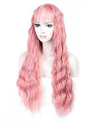 Hot Selling Pink Color Long Natural Wave Women Wig Heat Resisting Cospaly Syntheitc Wig