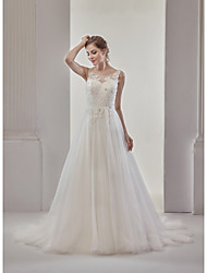 A-Line Princess Illusion Neckline Court Train Tulle Wedding Dress with Appliques Buttons by MD