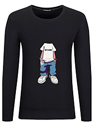 abordables -Hombre Simple Tejido Oriental Otros Diario Casual Para Todas las Temporadas Otoño Camiseta,Escote Redondo Patrón Moda Manga Larga Algodón