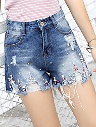 Women's High Waist Inelastic Shorts Pants,Cute Wide Leg Beaded Solid