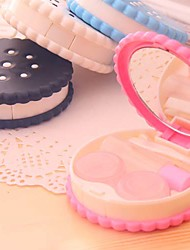 Cute Cookies Pocket Contact Lens Case Carry Mirror Travel Kit Container Glasses Box Eyes Care Kit Random Color