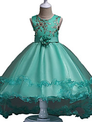 cheap -Ball Gown Asymmetrical Flower Girl Dress - Organza Sleeveless Jewel Neck with Flower by YDN