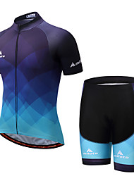 13307b3f4 Miloto Men s Short Sleeve Cycling Jersey with Shorts - Blue Bike Padded  Shorts   Chamois   Clothing Suit Spandex Gradient   Stretchy