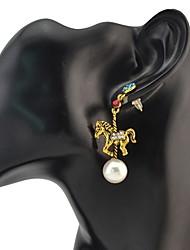 Drop Earrings New 2 Colors Animal Diamante Pearl Pendant Ear Stud Earrings for Women Charm Jewelry