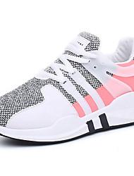 Для женщин Спортивная обувь Удобная обувь Полиуретан Весна Осень На плоской подошве Черный Серый На плоской подошве
