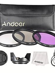 Andoer 55mm Filterkit (uv cpl fld) Nylon Tragetasche Objektivdeckel Objektivdeckel Objektiv Objektiv Objektiv Reinigungstuch