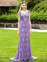 Sheath / Column V-neck Sweep / Brush Train Lace Bridesmaid Dress with Pleats by LAN TING BRIDE®