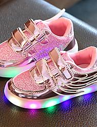 Da ragazza Scarpe Tulle Finta pelle Primavera Estate Autunno Scarpe luminose Sneakers Footing Basso Punta tonda Nastro a strappo LED Per