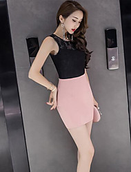 Women's Business Daily Casual Casual Summer Blouse Skirt Suits,Solid Lace Round Neck Sleeveless strenchy