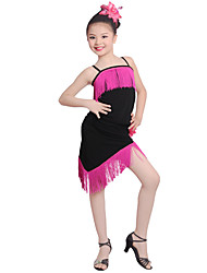 cheap -Shall We Latin Dance Dresses Kid's Performance Ice Silk Flower Tassel(s) 1 Piece Sleeveless High Dresses