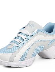 Damen Tanz-Turnschuh Echtes Leder Sneakers Im Freien Niedriger Heel Weiß Schwarz Rot Blau 2,5 - 4,5 cm