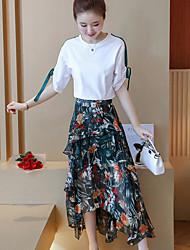 Manches Ajustées Jupe Costumes Femme,Imprimé Quotidien Sortie Moderne Automne Manches Courtes Col Arrondi Micro-élastique