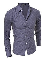 cheap -Men's Active Plus Size Cotton Shirt - Striped Geometric Standing Collar