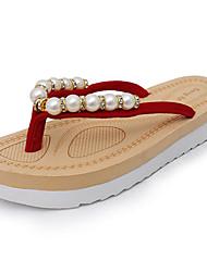 cheap -Women's Slippers & Flip-Flops Comfort Summer Rubber Walking Shoes Outdoor Pearl Flat Heel Black Ruby Green Under 1in