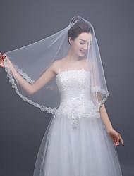 Retro Elegant Wedding Veil One-tier Blusher Veils Lace Applique Edge Tulle