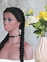 Femme Perruque Lace Front Synthétique L Part Long Droite Crépu Noir Au Milieu Perruque tressée Tresses Africaines Avec Mèches Avant