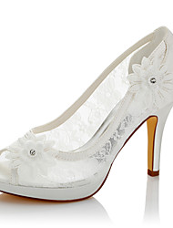 cheap -Women's Sandals Comfort Summer Fall Lace Satin Wedding Dress Party & Evening Applique Stiletto Heel Ivory 4in-4 3/4in