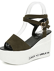 Women's Sandals Retro Fashion Club Shoes Spring Summer PU Party/Evening Daily Dress Going out Buckle Wedge Heel Black Army Green Burgundy