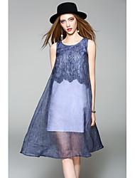 Χαμηλού Κόστους WHALE STUDIO-Γυναικεία Χαριτωμένο Καθημερινό Σιφόν Φόρεμα - Μονόχρωμο Ως το Γόνατο