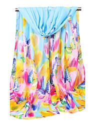 cheap -Women's Chiffon Fashion Cute Floral Blue/Pink/White/Orange Spring Summer Fall Winter All Seasons Scarf