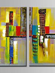 preiswerte -Handgemalte Abstrakt Quadratisch, Abstrakt Segeltuch Hang-Ölgemälde Haus Dekoration Zwei Panele