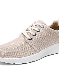 cheap -Men's Shoes Linen Spring Fall Comfort Athletic Shoes Walking Shoes Lace-up For Casual White Black Beige