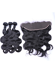 cheap -Free Part 4x13 Ear To Ear Lace Frontal Closures with Baby Hair with 3 Bundles 300g Brazilian Remy Human Hair #1B Body Wave Wefts/Extensions/Weaving
