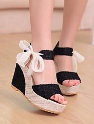Damen Schuhe PU Sommer Pumps Sandalen Keilabsatz für Normal Schwarz Beige