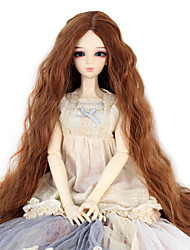 cheap -Synthetic Doll Accessories Long Kinky Curly Light Brown Color Middle Centre Hair for 1/3 1/4 Bjd SD DZ MSD Doll Costume Wigs Not for Human Adult