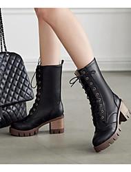 Damen Schuhe Leder PU Herbst Winter Komfort Modische Stiefel Stiefel Für Normal Schwarz Beige Gelb Blau