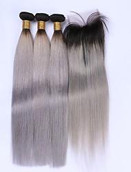 abordables -Cabello Brasileño Recto Trama del pelo con cierre Cabello humano teje Gris oscuro Extensiones de cabello humano
