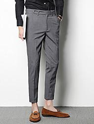 Da uomo A vita medio-alta Semplice Media elasticità Chino Lavoro Pantaloni,Dritto Taglia piccola Tinta unita