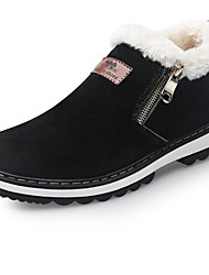 Men's Boots Snow Boots Fall Winter Nubuck leather Leatherette Casual Zipper Flat Heel Black Yellow Flat