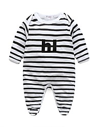 Baby Boy's Others Stripes One-Pieces,100%Cotton Autumn/Fall Spring Stripes Long Sleeve Black