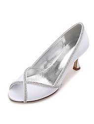 preiswerte -Damen Hochzeit Schuhe Komfort Pumps Satin Frühling Sommer Hochzeit Kleid Party & Festivität Strass Glitter Kette KombinationNiedriger
