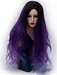 cheap -Synthetic Wig Natural Wave Ombre Hair Purple Women's Capless Carnival Wig Halloween Wig Party Wig Natural Wigs Long Synthetic Hair