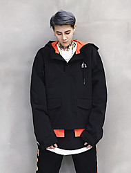 Men's Sports Going out Casual/Daily Simple Active Street chic Spring Fall Jacket,Solid Hooded Long Sleeve Regular Cotton Polyester