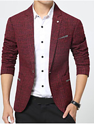 cheap -Men's Daily Work Simple Casual Fall Regular Blazer, Solid Peaked Lapel Cotton Polyester