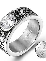 preiswerte -Personalisierte Geschenke Ringe Strass Titanstahl Paar Muster Geometrisch Mit Steinen verziert Retro Modisch Geschenk Europäisch