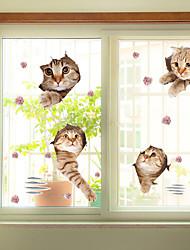 Недорогие -Цветочный принт Рождество Стикер на окна, ПВХ/винил материал окно Украшение Для гостиной