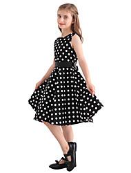 Girl's Black White Polka Dot Vintage Inspired Sleeveless 50s Rockabilly Swing Dress Cotton All Seasons