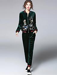 abordables -Mujer Simple Casual/Diario Otoño Sudadera Pantalón Trajes,Escote Redondo Un Color Estampado Manga Larga