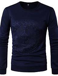 Men's Casual/Daily Simple Spring Fall T-shirt,Solid Round Neck Long Sleeves Polyester Medium