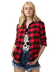 cheap -Women's Daily Street chic Spring Fall Shirt,Check Shirt Collar Long Sleeves Cotton Medium